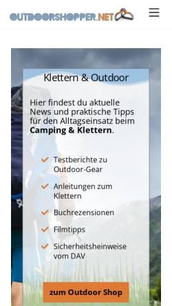 Vorschau der mobilen Webseite www.outdoorshopper.net, Outdoorshopper