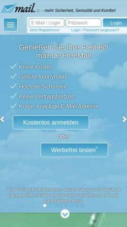 Vorschau der mobilen Webseite mail.de, mail.de GmbH
