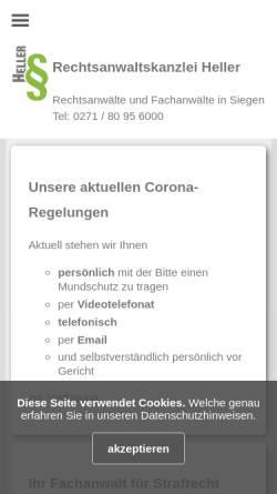 Vorschau der mobilen Webseite www.rechtsanwaltskanzlei-heller.de, Rechtsanwaltskanzlei Heller in Siegen
