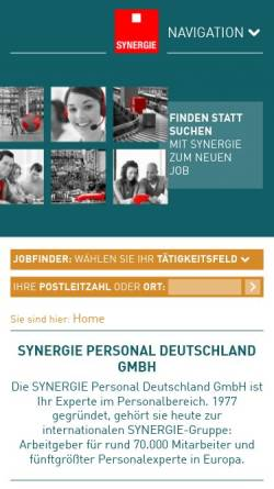 Vorschau der mobilen Webseite www.synergie.de, SYNERGIE Personal Deutschland GmbH