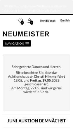 Vorschau der mobilen Webseite www.neumeister.com, Neumeister Münchener Kunstauktionshaus GmbH & Co. KG