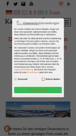 Vorschau der mobilen Webseite kapitel-zwei.de, Kapitel Zwei. Deutsch-Sprachschule Berlin GmbH
