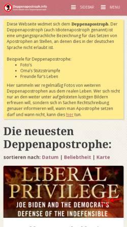 Vorschau der mobilen Webseite www.deppenapostroph.info, Deppenapostroph