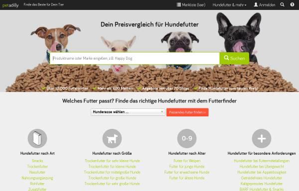 Vorschau von www.petadilly.de, petadilly - Suchmaschine und Preisvergleich für Hundefutter