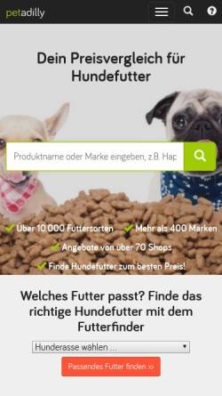 Vorschau der mobilen Webseite www.petadilly.de, petadilly - Suchmaschine und Preisvergleich für Hundefutter