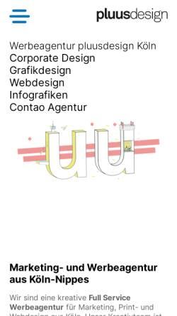 Vorschau der mobilen Webseite www.pluus-design.de, pluusdesign GmbH