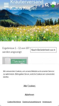 Vorschau der mobilen Webseite www.kraeuterversand-klaus-kuegler.de, Kräuterversand Klaus Kügler