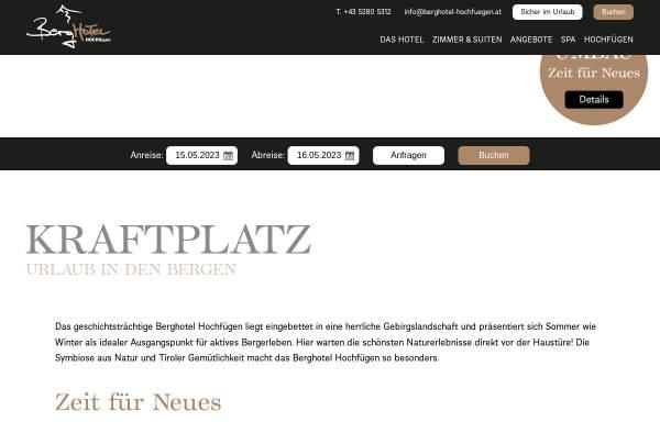 Vorschau von www.berghotel-hochfuegen.at, Berghotel Hochfügen