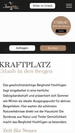 Vorschau der mobilen Webseite www.berghotel-hochfuegen.at, Berghotel Hochfügen
