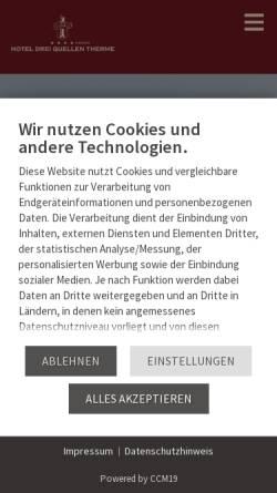 Vorschau der mobilen Webseite www.hotel-dreiquellen.de, Hotel Drei Quellen Therme