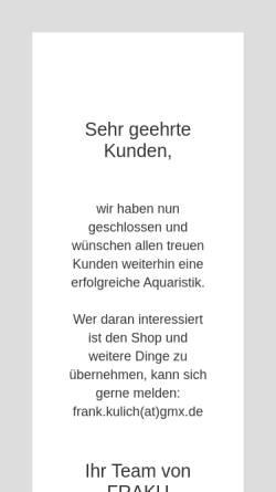 Vorschau der mobilen Webseite www.fraku-aquaristik.de, FRAKU Aquaristik, Frank Kulich