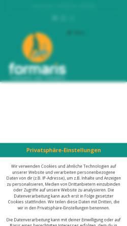 Vorschau der mobilen Webseite www.formaris.de, formaris - Personaltraining und Osteopathie aus einer Hand