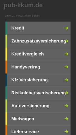 Vorschau der mobilen Webseite www.pub-likum.de, Partyraum PUB-Likum mieten Köln