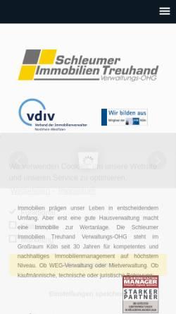 Vorschau der mobilen Webseite www.hausverwaltung-koeln.com, Schleumer Immobilien Treuhand Verwaltungs-OHG