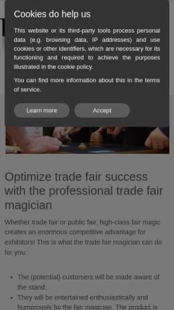 Vorschau der mobilen Webseite www.messe-zauberer.com, Event- und Messezauberer Burkhard Schmidt