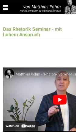 Vorschau der mobilen Webseite www.rhetorik-seminar-online.com, Rhetorik Seminar Online / Pöhm Seminarfactory
