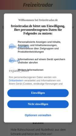Vorschau der mobilen Webseite freizeitradar.de, Freizeitradar