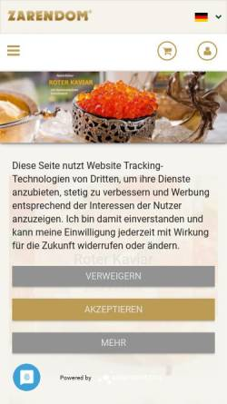 Vorschau der mobilen Webseite zarendom.de, Zarendom Kaviar