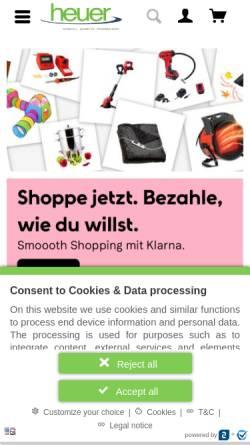 Vorschau der mobilen Webseite www.heuer-gmbh.com, Heuer GmbH Online Shop - Praktische Dinge für Haus und Hobby