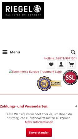 Vorschau der mobilen Webseite www.riegel-interior.com, Riegel Interior