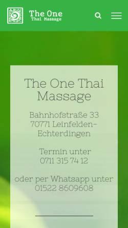 Vorschau der mobilen Webseite theonethaimassage.de, The One Thai Massage