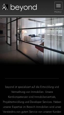 Vorschau der mobilen Webseite www.beyond-real-estate.de, beyond REAL ESTATE GmbH & Co. KG