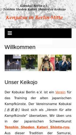 Vorschau der mobilen Webseite katori-berlin.de, Kobukai-Berlin e.V. - Katori Shinto-ryu Kenjutsu