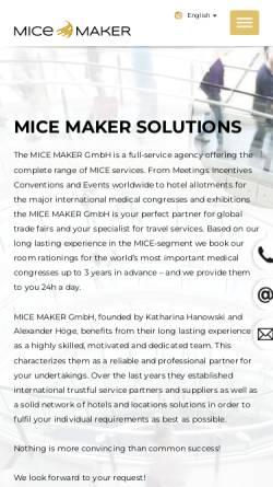 Vorschau der mobilen Webseite www.mice-maker.com, MICE MAKER GmbH
