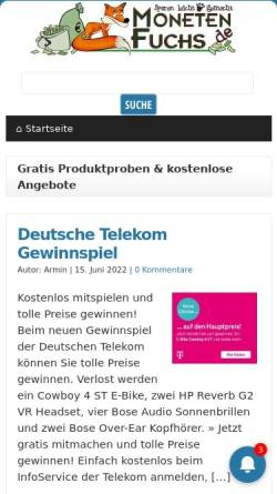 Vorschau der mobilen Webseite www.monetenfuchs.de, Monetenfuchs Internetservice