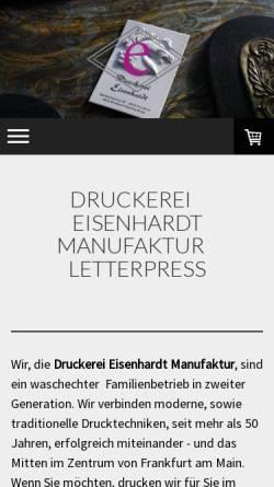 Vorschau der mobilen Webseite www.letterpress-eisenhardt.de, Letterpress Druckerei Eisenhardt GmbH