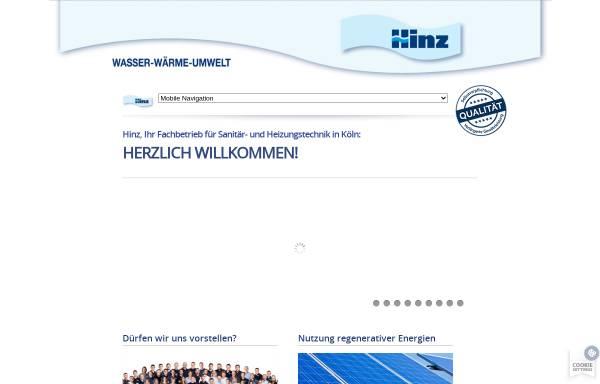 Vorschau von www.hinz-koeln.de, Hinz - Ihr Fachbetrieb für Sanitär- und Heizung