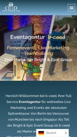 Vorschau der mobilen Webseite b-ceed.de, b-ceed GmbH