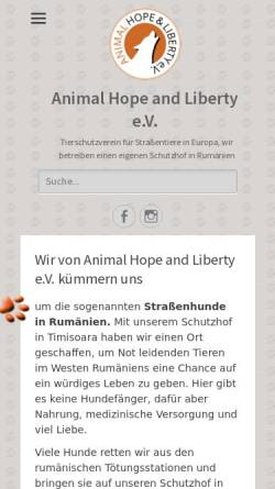 Vorschau der mobilen Webseite www.animal-hope-and-liberty.de, Animal Hope & Liberty e.V.