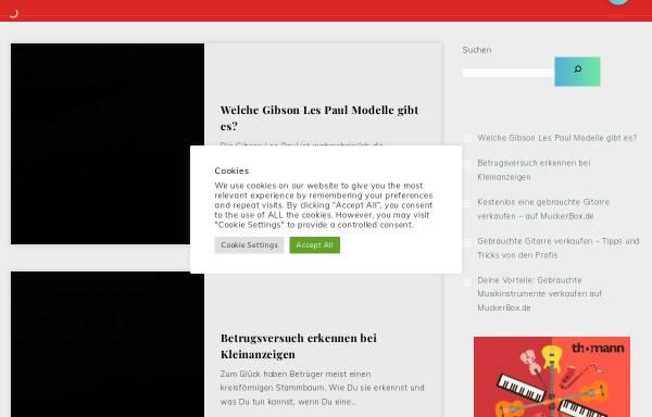 Vorschau von www.muckerbox.de, MuckerBox.de - Tolle Kleinanzeigen für gebrauchte Gitarren