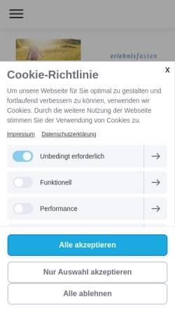Vorschau der mobilen Webseite www.erlebnisfasten.de, Erlebnisfasten in Freiburg und Umgebung