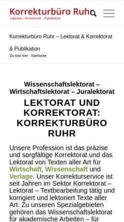 Vorschau der mobilen Webseite lektorat-korrekturlesen.de, Korrekturbüro Ruhr, Dr. Hartmut Pietsch