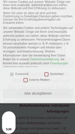 Vorschau der mobilen Webseite betoniu.com, Design Betonmöbel und Beton Wohnaccessoires