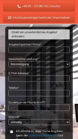 Vorschau der mobilen Webseite bueroreiniger-berlin.de, R&Q Management Berlin