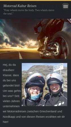 Vorschau der mobilen Webseite www.motorrad-kulturreisen.com, Motorrad Kulturreisen