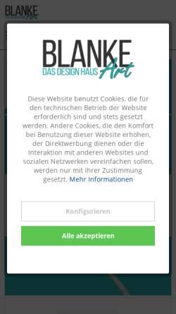 Vorschau der mobilen Webseite www.blanke-art.de, BLANKE ART Das Design Haus