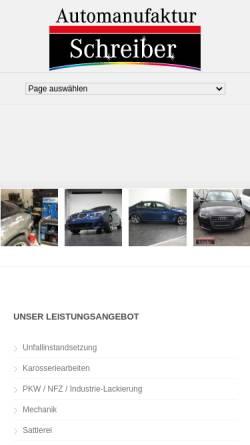 Vorschau der mobilen Webseite www.automanufaktur-schreiber.de, Automanufaktur Schreiber