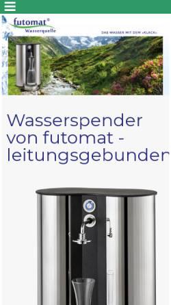 Vorschau der mobilen Webseite www.futomat-wasserspender.de, futomat Wasserspender, Thomas R. Funk