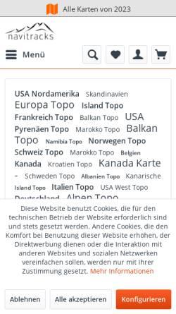Vorschau der mobilen Webseite www.navitracks.de, navitracks - Garmin Karten Manufaktur