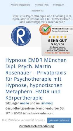Vorschau der mobilen Webseite praxis-rosenauer.de, Martin Rosenauer Hypnosetherapie