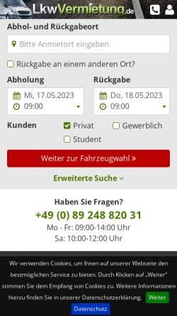 Vorschau der mobilen Webseite www.lkwvermietung.de, LKWvermietung.de