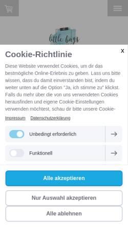 Vorschau der mobilen Webseite www.littlebags.de, little bags
