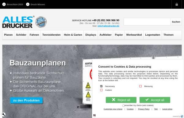 Vorschau von www.allesdrucker.de, Allesdrucker GmbH