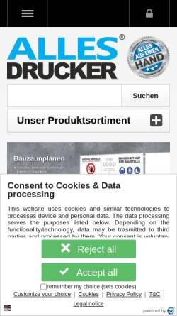 Vorschau der mobilen Webseite www.allesdrucker.de, Allesdrucker GmbH