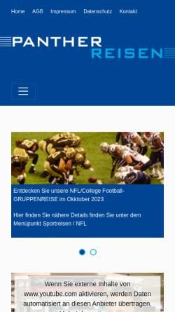 Vorschau der mobilen Webseite www.panther-reisen.de, Panther Reisen