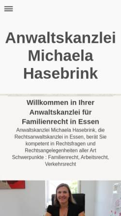 Vorschau der mobilen Webseite www.kanzlei-hasebrink.de, Anwaltskanzlei Michaela Hasebrink